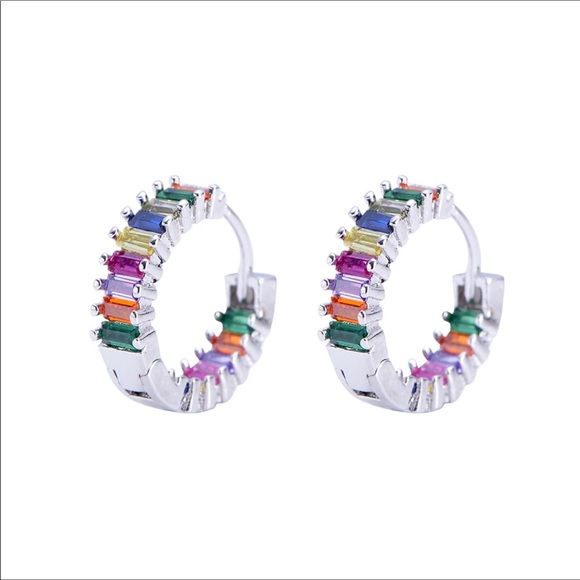 925 Crystal Rainbow Hoop Earrings